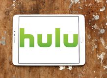 Hulu company logo. Logo of Hulu on samsung tablet on wooden background. Hulu is an American subscription video on demand service owned by Hulu LLC, a joint Stock Images