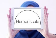Humanscale manufacturer logo. Logo of Humanscale manufacturer on samsung tablet holded by arab muslim woman. Humanscale is the leading manufacturer of ergonomic Stock Photo