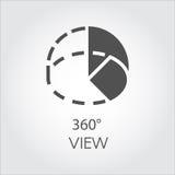 Logo i svartlägenhetstil av sikt för panorama fulla 360 grader Trehundra och sextio pictogram för gradrotationsabstrakt begrepp Royaltyfria Foton