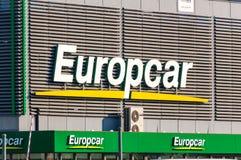 Logo i znak Europcar samochodowego wynajem firma zdjęcie stock