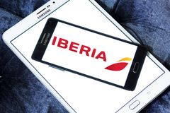 Iberia Airlines logo. Logo of Iberia Airlines on samsung mobile. Iberia is the flag carrier airline of Spain Royalty Free Stock Image