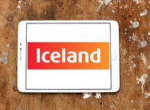 Iceland Supermarkets chain logo. Logo of Iceland Supermarkets chain on samsung tablet on wooden background. Iceland is a British supermarket chain, with emphasis Stock Photography