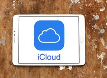 ICloud service logo. Logo of iCloud service on samsung tablet. iCloud is a cloud storage and cloud computing service from Apple royalty free stock photos