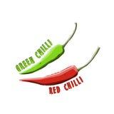 Logo Icon Design Red Chilli & Groen Spaanse peperslandbouwbedrijf Stock Afbeeldingen