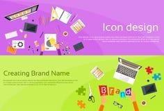Logo Icon Designer Drawing Desk-Arbeitsplatz-Marke Lizenzfreie Stockbilder