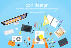 Logo Icon Designer Drawing Desk-Werkruimte vector illustratie