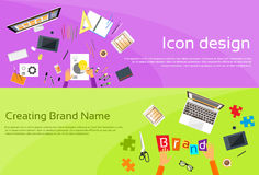 Logo Icon Designer Drawing Desk Workspace Brand Royalty Free Stock Images
