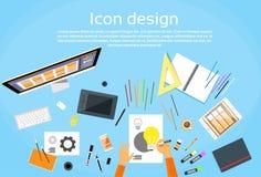 Logo Icon Designer Drawing Desk Workspace. Flat Vector Illustration Stock Images
