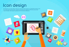 Logo Icon Designer Professional Tablet Drawing Stock Image