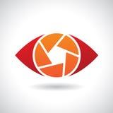 Logo Icon di un'illustrazione di vettore dell'occhio dell'otturatore Fotografia Stock