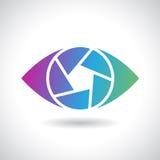 Logo Icon di un'illustrazione di vettore dell'occhio dell'otturatore Fotografie Stock Libere da Diritti