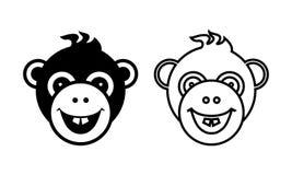 Logo and icon of fun monkey. Royalty Free Stock Image