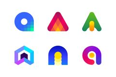 Logo or icon of letter A for accounting and financial services. Modern logo template or icon of abstract letter A for blockchain technology in accounting and Stock Images
