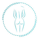 Logo and icon for the masseur or orthopedic. Naked woman back. The girl from behind. Stock Photos
