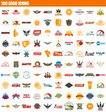 100 logo icon set, flat style. 100 logo icon set. Flat set of 100 logo icons for web design vector illustration