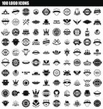 100 logo icon set, simple style. 100 logo icon set. Simple set of 100 logo icons for web design isolated on white background Vector Illustration