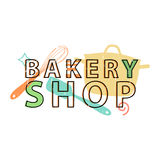 Logo, icon, stamp, emblem bakery shop. Logo bakery in retro style with the decor silhouettes of the kitchen tools   Royalty Free Stock Image