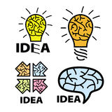 Logo idea. Brain. light bulb. arrow Stock Image