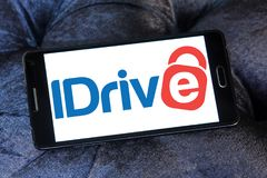IDrive company logo. Logo of IDrive company on samsung mobile. IDrive Inc. is a technology company that specializes in data backup applications. Its flagship Stock Images