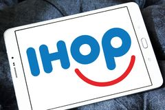 IHOP restaurant chain logo. Logo of IHOP restaurant chain on samsung tablet. IHOP , the International House of Pancakes, is an American multinational pancake stock photo
