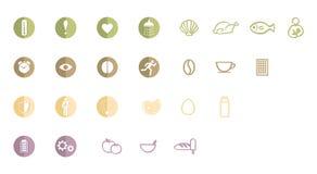 Logo, Ikonen oder Piktogramme von den Attributen des gesunden Lebens, Sitz bleibend und voll von der Energie und haben angenehmes stock abbildung