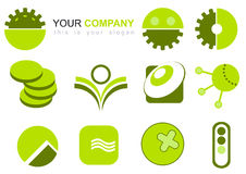 Logo Illustration. A set of logo illustrations in shades of green Stock Images