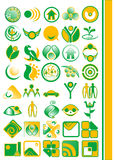 Logo illustration. A set of logo illustrations in shades of green and orange Royalty Free Stock Photo