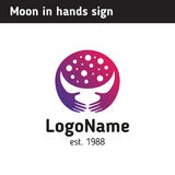 Logo or illustration moon in hands, young month Stock Image