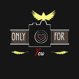 Logo  illustration. Photo camera with flash-bird made in vector Royalty Free Stock Photo