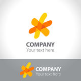 The logo with the image of the sun, stars, flower. Vector illustration Royalty Free Stock Image