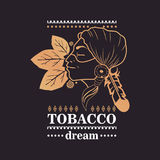 Logo indian girl with tobacco leaves and word tobacco dream on black background. Illustration Stock Images