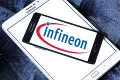 Infineon Technologies company logo. Logo of Infineon Technologies company on samsung mobile. Infineon Technologies AG is a German semiconductor manufacturer Stock Images