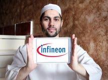 Infineon Technologies company logo. Logo of Infineon Technologies company on samsung tablet holded by arab muslim man. Infineon Technologies AG is a German Stock Photography