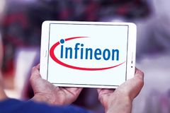 Infineon Technologies company logo. Logo of Infineon Technologies company on samsung tablet. Infineon Technologies AG is a German semiconductor manufacturer Stock Images