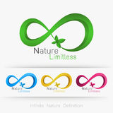 Logo infinity with leaf,. Infinite nature definition concept . Vector illustration Stock Photos