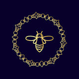 Logo with insect. Badge Bee for corporate identity. Packaging luxury brand of bee products, eco-cosmetics, soap, medical products and honey. Trend style in Royalty Free Stock Image