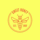 Logo with insect. Badge Bee for corporate identity Stock Image