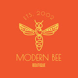 Logo with insect. Badge Bee for corporate identity Royalty Free Stock Photo