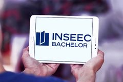 INSEEC Business School logo. Logo of INSEEC Business School on samsung tablet. The INSEEC Bachelor is a program in 3 years training future managers, giving royalty free stock photo