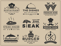 Logo insignia design for Restaurant, Steak house. Wine, Burger, Food menu, Stamp, Letter press | Vector illustration resize able and free font used Royalty Free Stock Photo