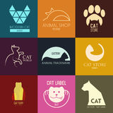 Logo inspiration for shops, companies, advertising  with cat.  Royalty Free Stock Photography