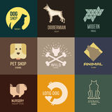 Logo inspiration for shops, companies, advertising  with dog.  Stock Photo