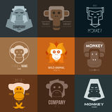 Logo inspiration for shops, companies, advertising or other business with monkey. Vector Illustration, graphic elements editable for design Royalty Free Stock Photos