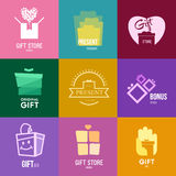 Logo inspiration for shops, companies, advertising or other business. Vector Illustration, graphic elements editable for design with gift, present or box Stock Images