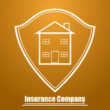 Logo of the insurance company in the form of a shield with the image of the house Royalty Free Stock Photo