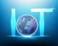 Logo Internet de la tecnología de las cosas IOT y del po mundial global ilustración del vector