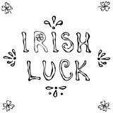 Logo irlandais de chance Lettrage de jour de St Patrick s contour Illustration tirée par la main de vecteur Style de griffonnage  Image stock