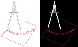 Logo irreale delle soluzioni del quadrato e della bussola Fotografie Stock