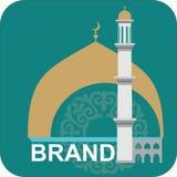 Logo islamique vert avec le dôme et le minaret d'or illustration de vecteur