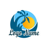 Logo isolated of travel agency. A symbol of vacation, travel and recreation in warm countries. Logo with palm trees. Logo of travel agency isolated on white Stock Photography